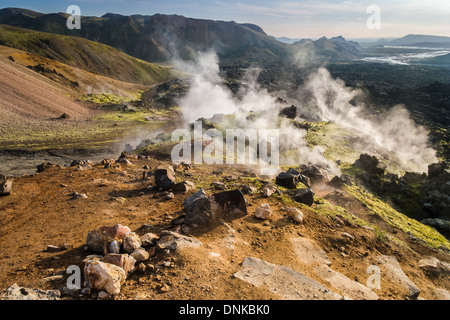 Steam vents and old lava flows, Landmannalaugar, Iceland - Stock Photo