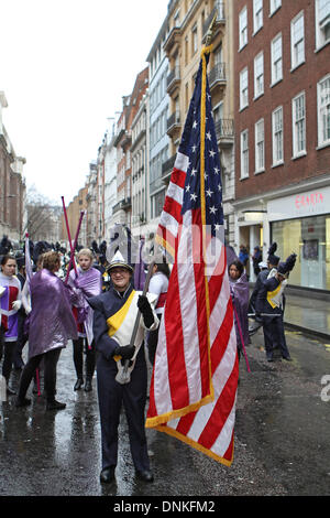 London,UK,1st January 2014,Flag bearers at the London's New Year's Day Parade 2014 Credit: Keith Larby/Alamy Live - Stock Photo