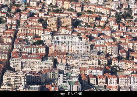APARTMENTS (aerial view). Principality of Monaco (lowest half) & Beausoleil, France (highest half). - Stock Photo