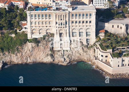 OCEANOGRAPHIC MUSEUM (aerial view). Historic museum on top of a cliff in Monaco-Ville district. Principality of - Stock Photo