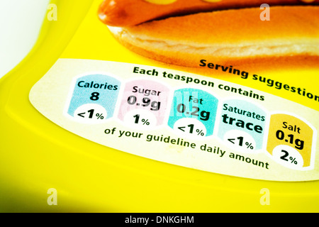 nutritional information gda guideline daily amount on bottle of mustard cut out white background copy space - Stock Photo