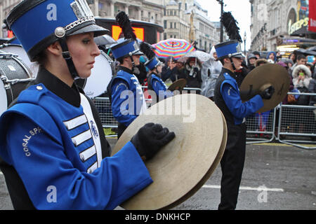 London,UK,1st January 2014,J.P Taravella high school from Florida playing at the London's New Year's Day Parade - Stock Photo