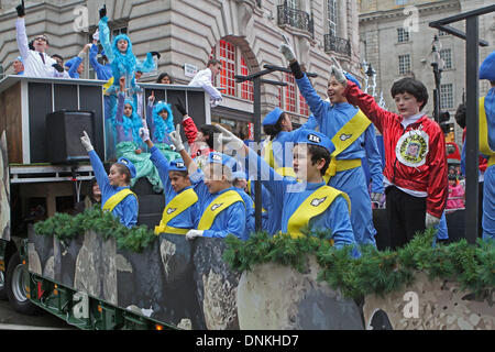 London,UK,1st January 2014,Thunderbirds are go at the London's New Year's Day Parade 2014 Credit: Keith Larby/Alamy - Stock Photo