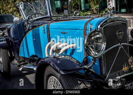 1931 vintage french peugeot 201 x convertible sports car in blue