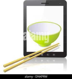 Tablet PC computer with ceramic mug with wooden sticks isolated on white background. Vector  illustration. - Stock Photo