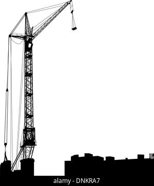 Silhouette of one cranes working on the building. Vector illustration. - Stock Photo