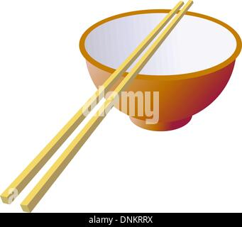 Ceramic mug with wooden sticks. Vector illustration. - Stock Photo