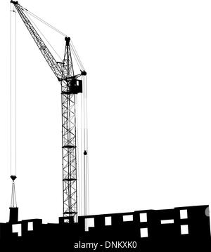 Silhouette of one cranes working on the building on a white background - Stock Photo