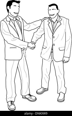 Illustration of faceless businessmen shaking hands and greeting - Stock Photo