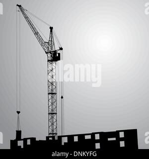 Silhouette of one cranes working on the building on a black background - Stock Photo