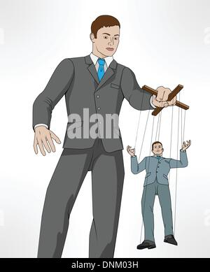 Conceptual illustration. Business man controlling other business man like a puppet on a string. - Stock Photo