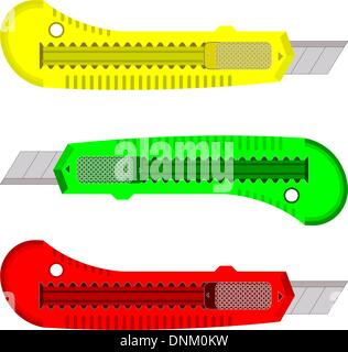 Plastic knives for the paper on a white background. - Stock Photo