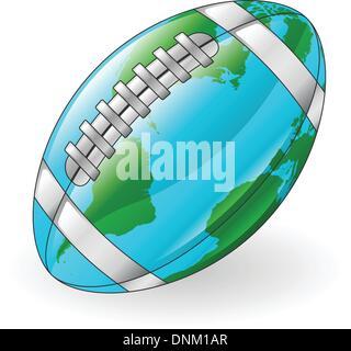 World globe American football ball concept illustration - Stock Photo