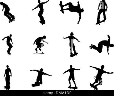 Very high quality and highly detailed skating skateboarder silhouette outlines. - Stock Photo