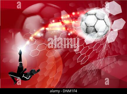 An abstract red soccer sport background with detailed silhouette of a soccer player kicking a soccer ball, smashing - Stock Photo