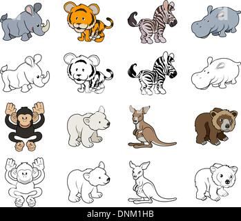 A set of cartoon wild animal illustrations. Color and black an white outline versions. - Stock Photo