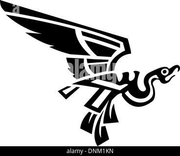 An original abstract bird based on Aztec or Mayan design - Stock Photo