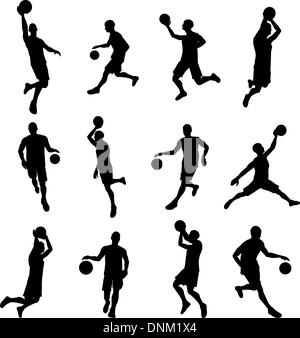A set of highly detailed high quality Basketball player silhouettes - Stock Photo