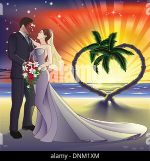 Bride and groom newly weds on a perfect tropical beach. Palm trees form a heart shape in the background with a sunset. - Stock Photo