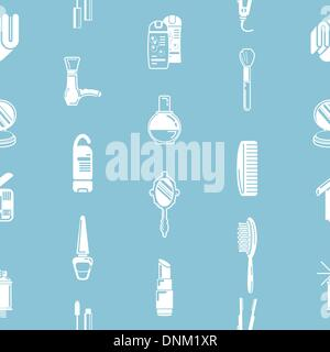 A repeating seamless cosmetics background tile texture with lots of drawings of different cosmetics and beauty products - Stock Photo