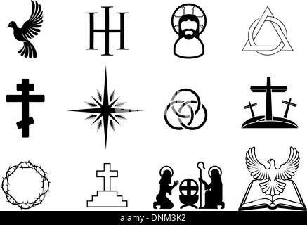 A set of Christian religious signs and symbols - Stock Photo