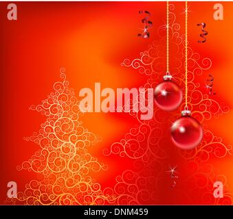 beautiful christmas inspired design in red - Stock Photo