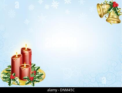 a christmas background with candles, bells and holly. - Stock Photo