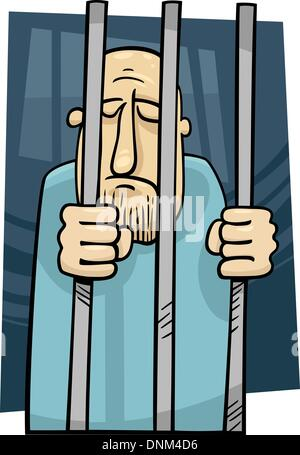 cartoon illustration of sad jailed man behind the prison bars - Stock Photo
