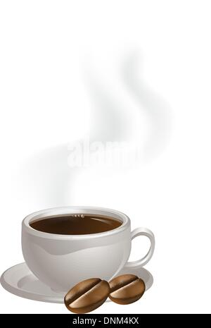 A steaming cup of coffee and two coffee beans drawing - Stock Photo