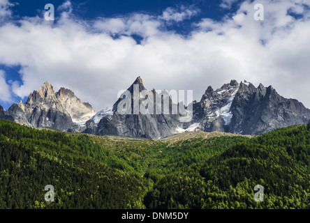 Alps Mountains, France. Outdoor scenery in Chamonis, with Aiguille de Midi ridge (3845 m) - Stock Photo