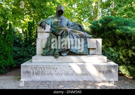 Budapest, Hungary. Statue of Anonymous built by Miklos Ligeti. The figure was chronicler to King Bela in 12th century - Stock Photo