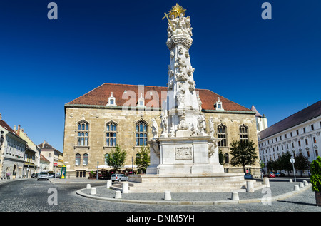Budapest, Hungary Holy Trinity Square named after the Trinity column, built between 1710-1713, after a large plague. - Stock Photo