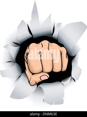 An illustration of a fist breaking through a wall, conceptual piece - Stock Photo