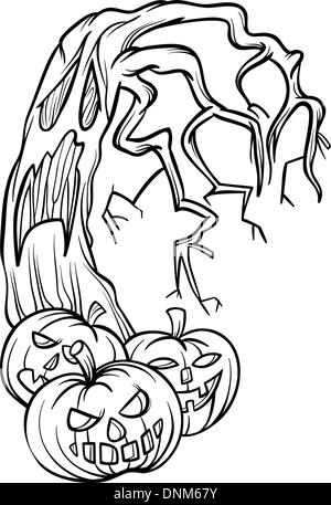 Black and White Cartoon Illustration of Halloween Pumpkins with Spooky Tree for Coloring Book - Stock Photo