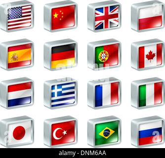 Flag icons or buttons, can be used as language selection icons for translating web pages or region selection or - Stock Photo