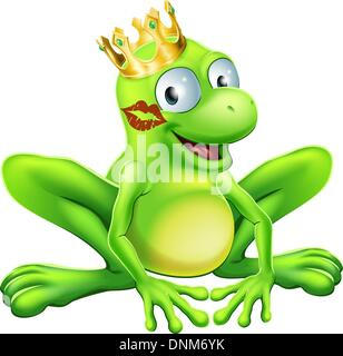 You have to kiss a lot of frogs to find a prince or princess. A frog wearing a crown with red lipstick on his or - Stock Photo