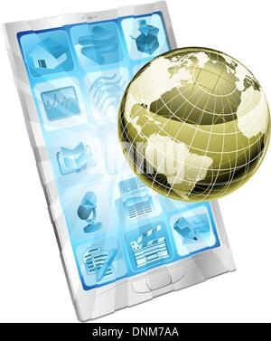 Internet concept illustration. Phone with illuminated globe flying out of screen. - Stock Photo