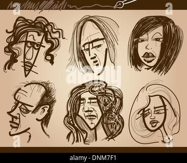 Cartoon Illustration of People Faces Caricature Drawings Set - Stock Photo