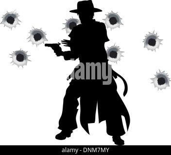 A wild west gunslinger drawing and firing his gun in a shootout with bullet holes in the background - Stock Photo