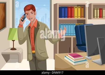 A vector illustration of handsome businessman talking on the phone in his office - Stock Photo