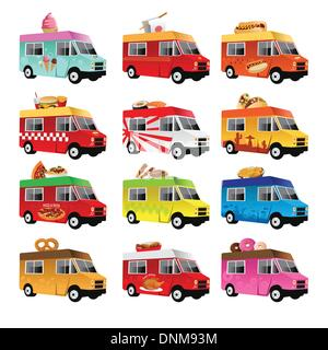 A vector illustration of food truck icon designs - Stock Photo