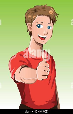 A vector illustration of a man with his thumb up - Stock Photo