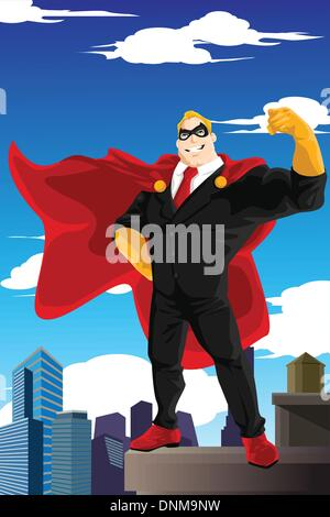 A vector illustration of a superhero businessman wearing a cape standing on top of a building - Stock Photo