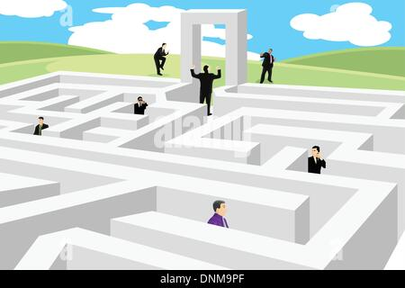A vector illustration of a group of business people looking for a way out from labyrinth - Stock Photo