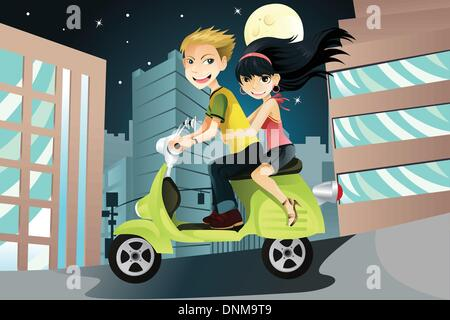 A vector illustration of a couple riding a motorcycle in the city on an evening - Stock Photo