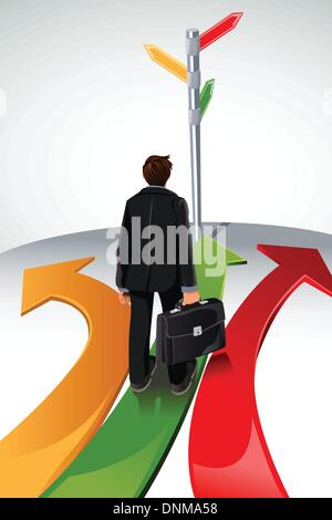 A vector illustration of a business concept, a businessman standing at a crossroads, with the sign posts pointing - Stock Photo