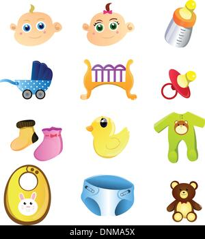 A vector illustration of a set of baby items - Stock Photo
