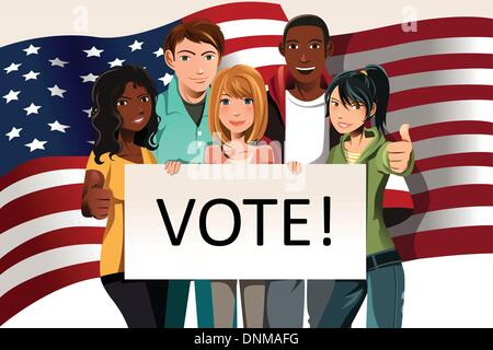 A vector illustration of a group of young adults holding a 'Vote' sign - Stock Photo