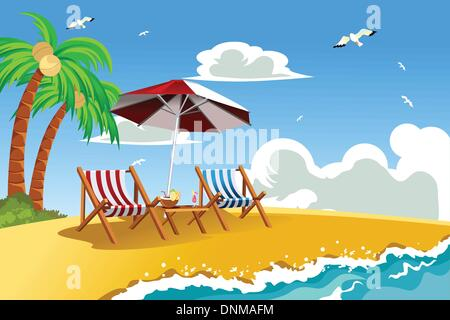A vector illustration of beach chairs on the tropical beach - Stock Photo