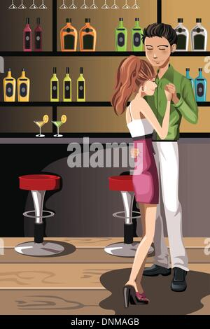 A vector illustration of a couple dancing in a night club - Stock Photo